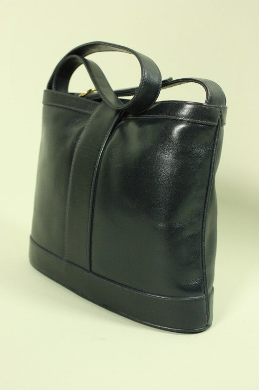 1980 S Gucci Navy Leather Handbag At 1stdibs