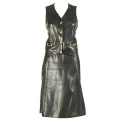 1970's Celine Navy Leather Ensemble
