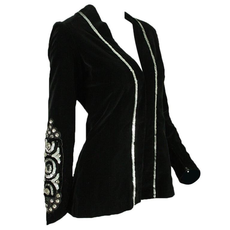 Thea Porter Velvet Jacket with Sleeve Embellishment, 1970s