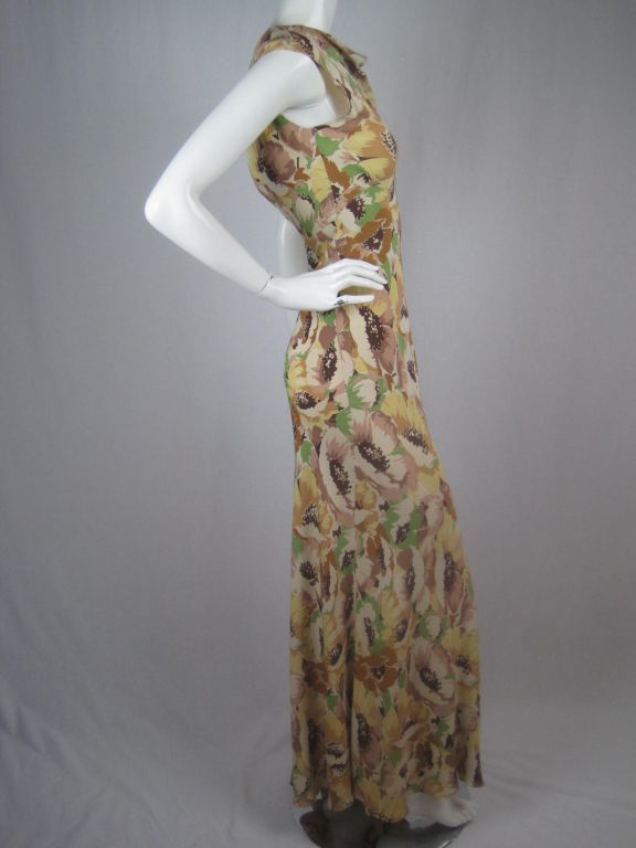 1930's Floral Crepe Dress 2