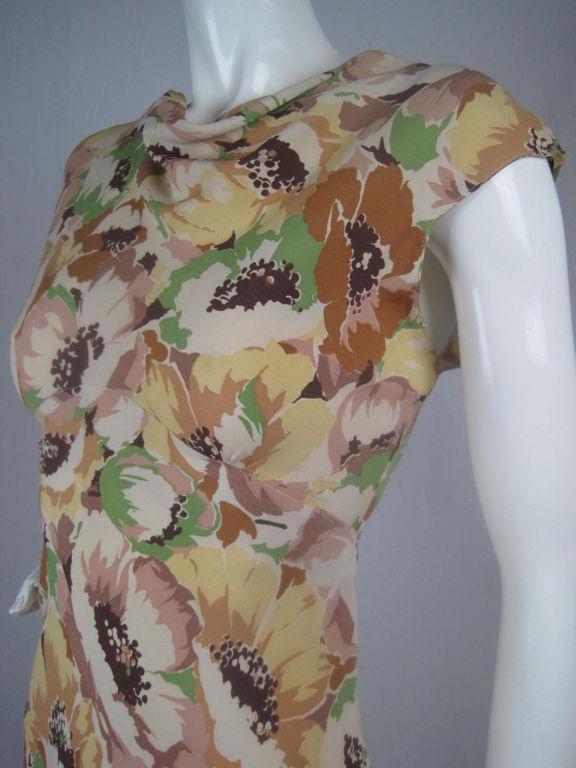 1930's Floral Crepe Dress 5