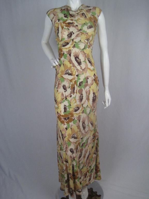 1930's Floral Crepe Dress 7