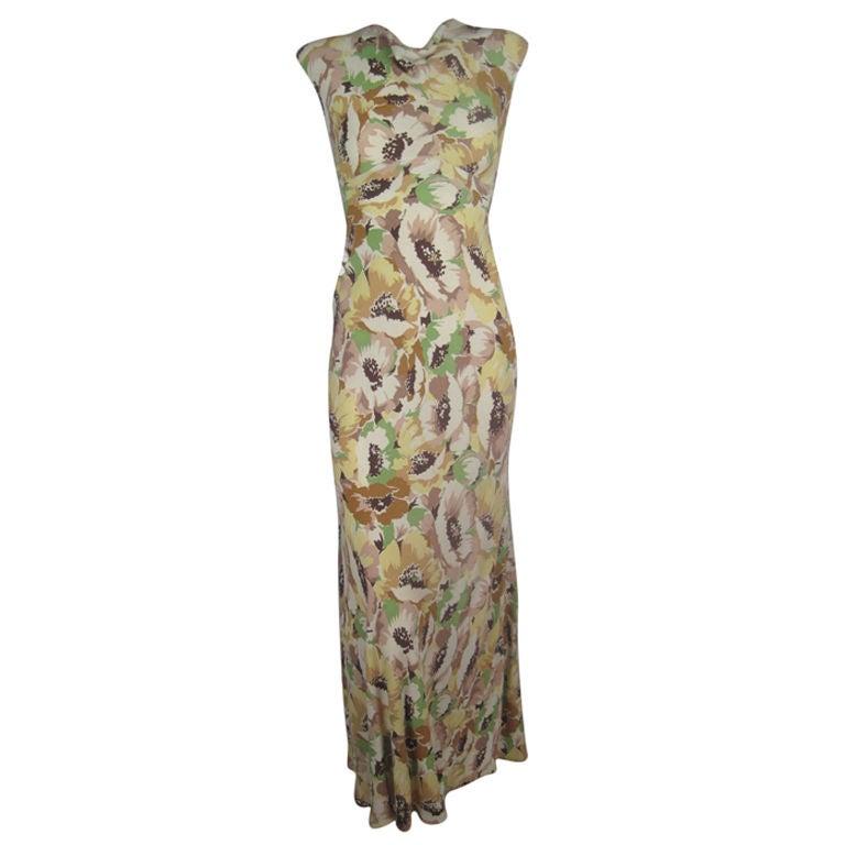 1930's Floral Crepe Dress 1