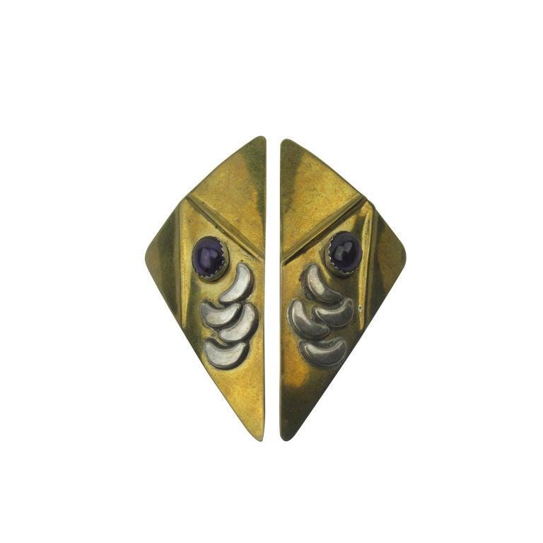 Brass, Silver, & Amethyst Earrings 1