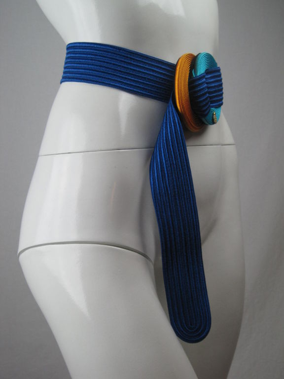 Yves Saint Laurent Ribbed Royal Blue Belt 2