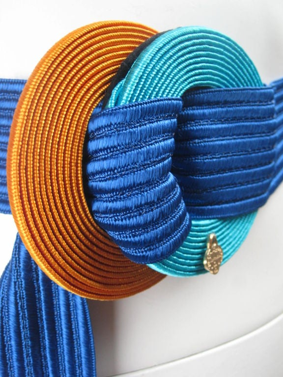 Yves Saint Laurent Ribbed Royal Blue Belt 3