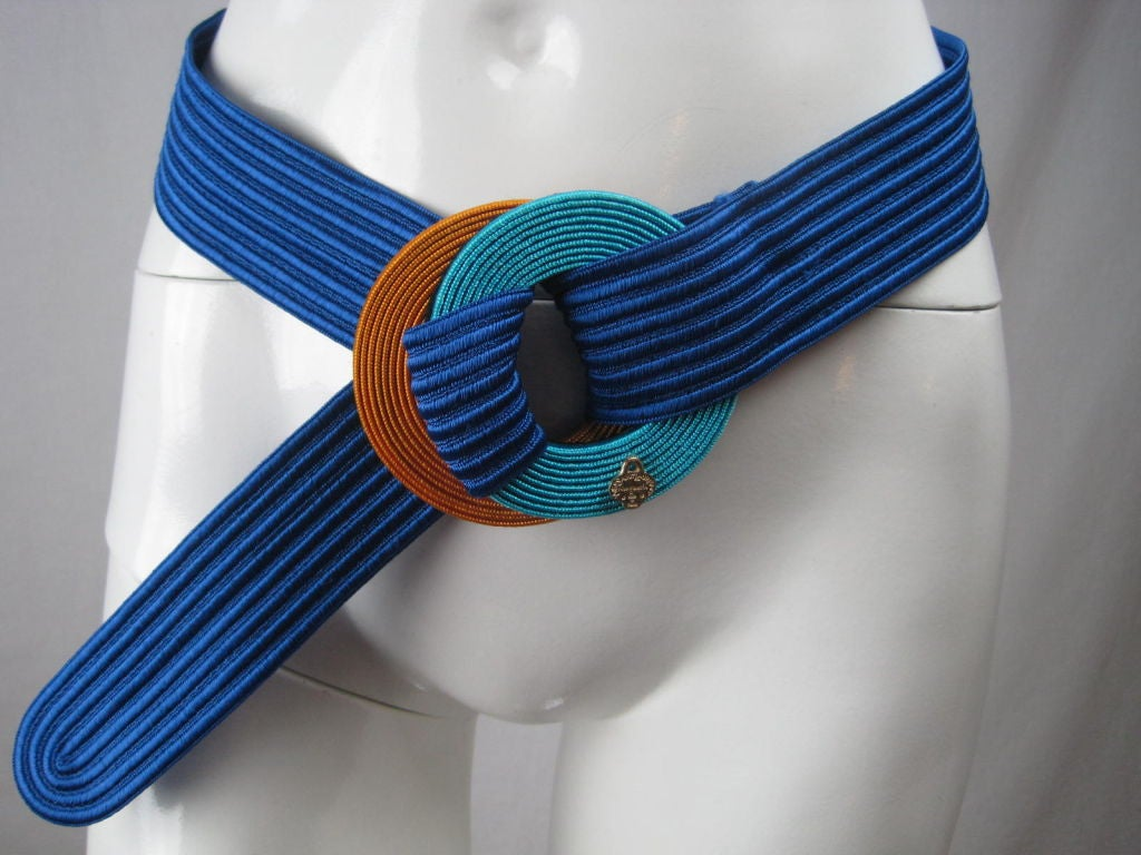 Yves Saint Laurent Ribbed Royal Blue Belt 5