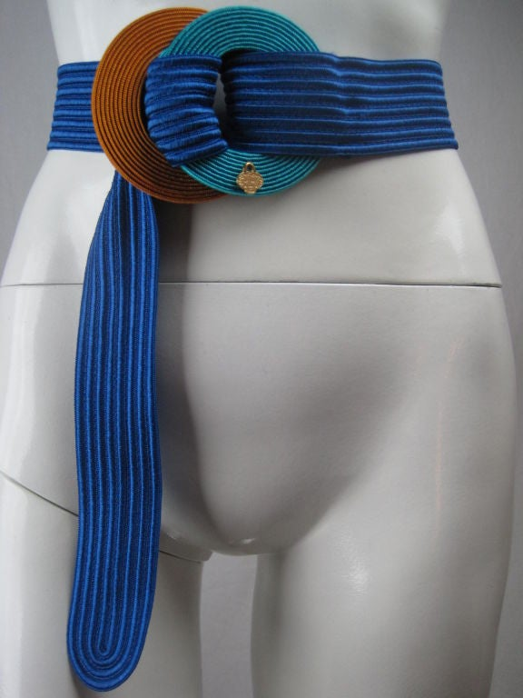 Yves Saint Laurent Ribbed Royal Blue Belt 6