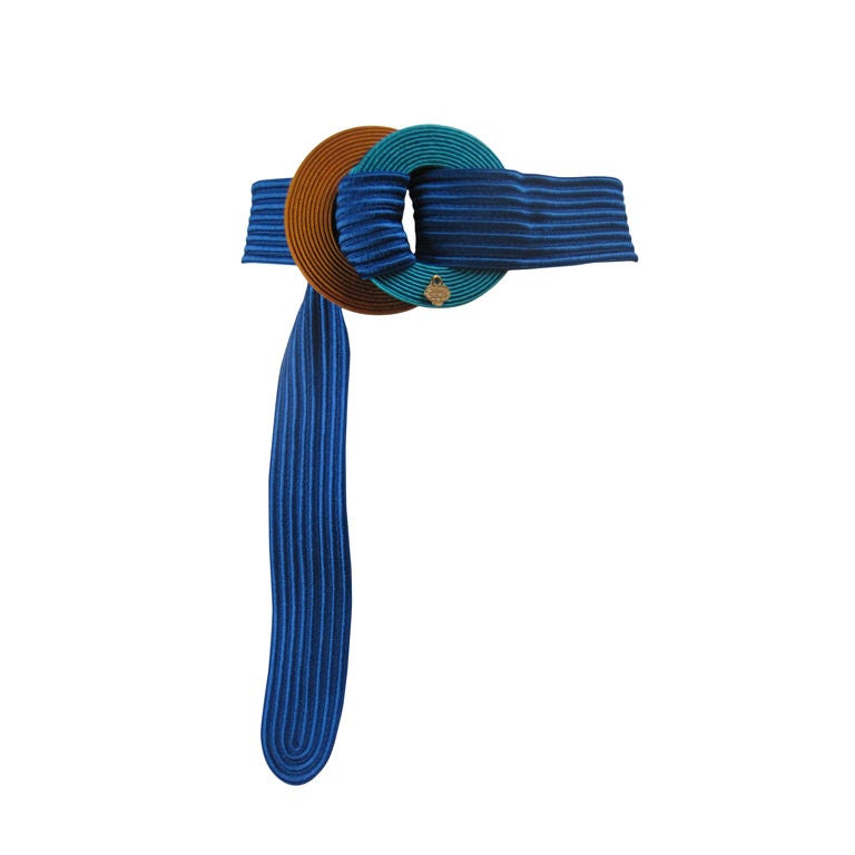 Yves Saint Laurent Ribbed Royal Blue Belt 1
