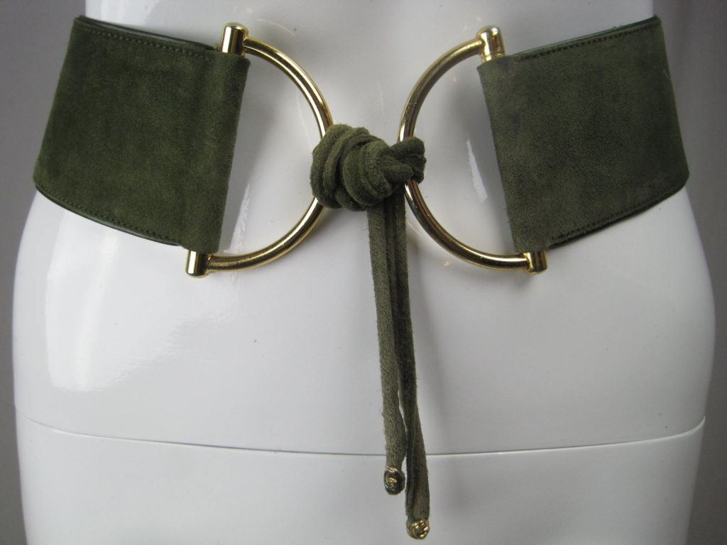1970's Gucci Green Suede Belt image 6