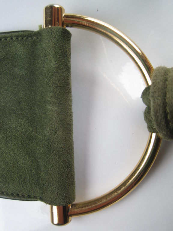 1970's Gucci Green Suede Belt image 2