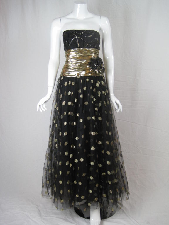 Fred Hayman 1980's Strapless Gown with Matching Shawl-SALE! 2