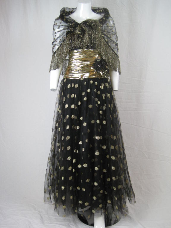 Fred Hayman 1980's Strapless Gown with Matching Shawl-SALE! 8