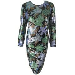 Oscar De La Renta Fully Sequined Dress