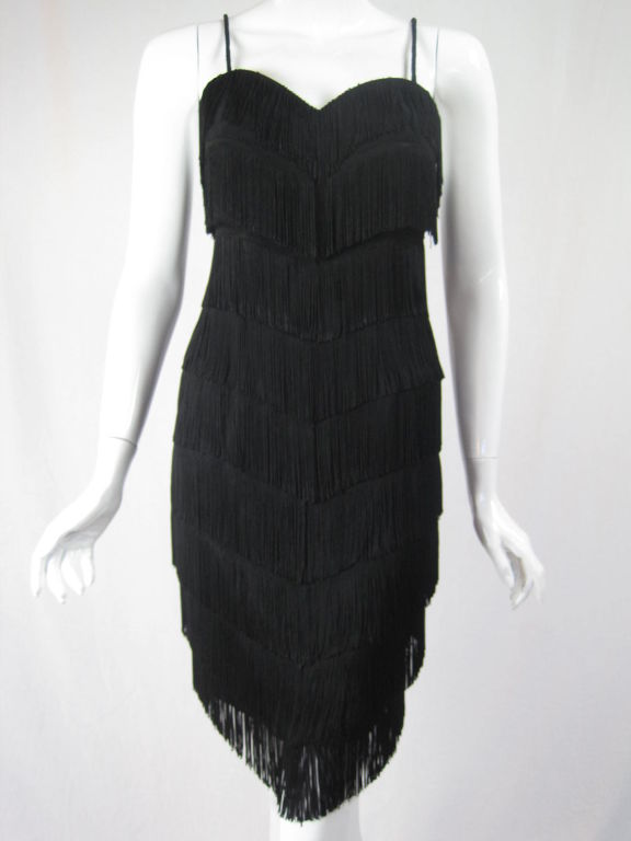 Moschino Couture Black Fringe Dress For Sale 5