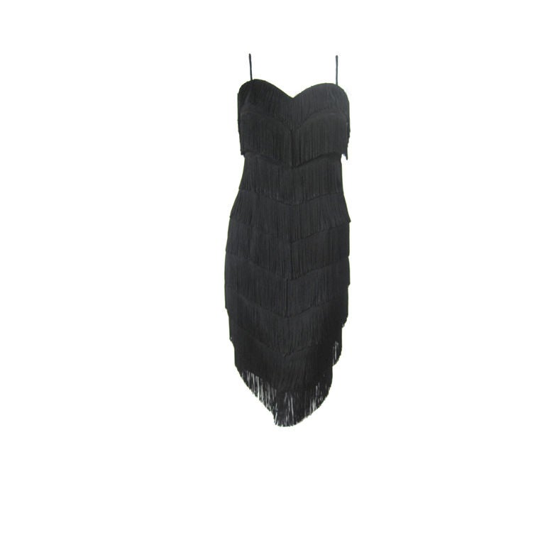 Moschino Couture Black Fringe Dress For Sale