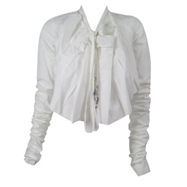 Jean-Paul Gaultier Asymmetrical Cotton Poplin Blouse