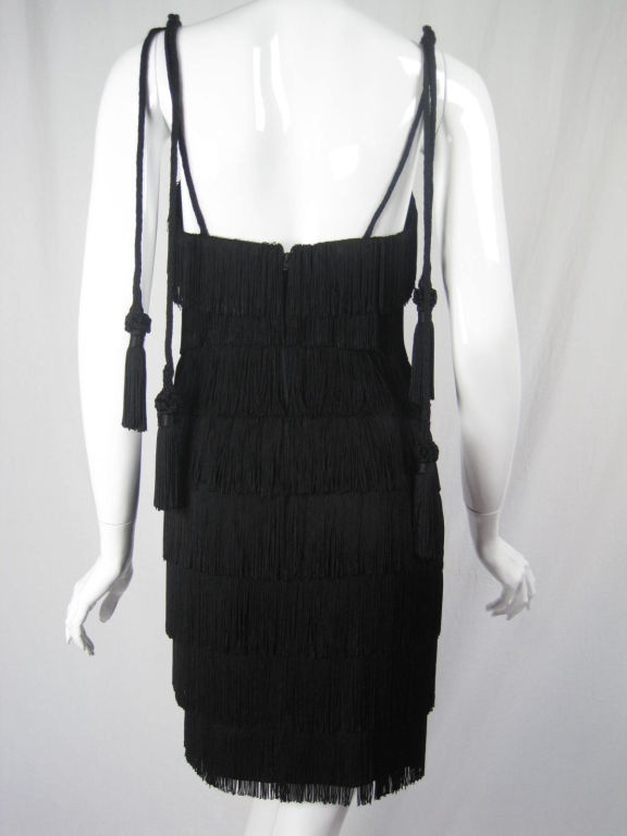 Moschino Couture Black Fringe Dress In Excellent Condition For Sale In Los Angeles, CA