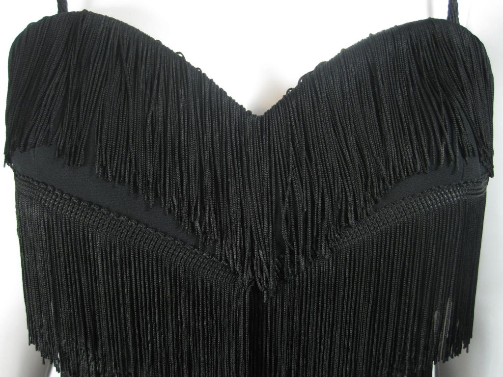 Women's Moschino Couture Black Fringe Dress For Sale