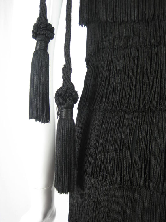 Moschino Couture Black Fringe Dress For Sale 1