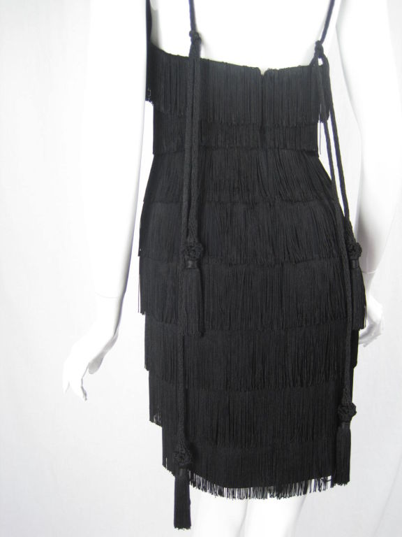 Moschino Couture Black Fringe Dress For Sale 3