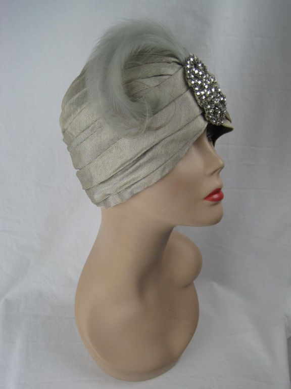 1930 S Faille Turban With Rhinestone And Feather Accent At
