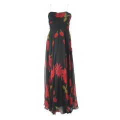 1950's Black Strapless Silk Chiffon Gown with Red Floral Print