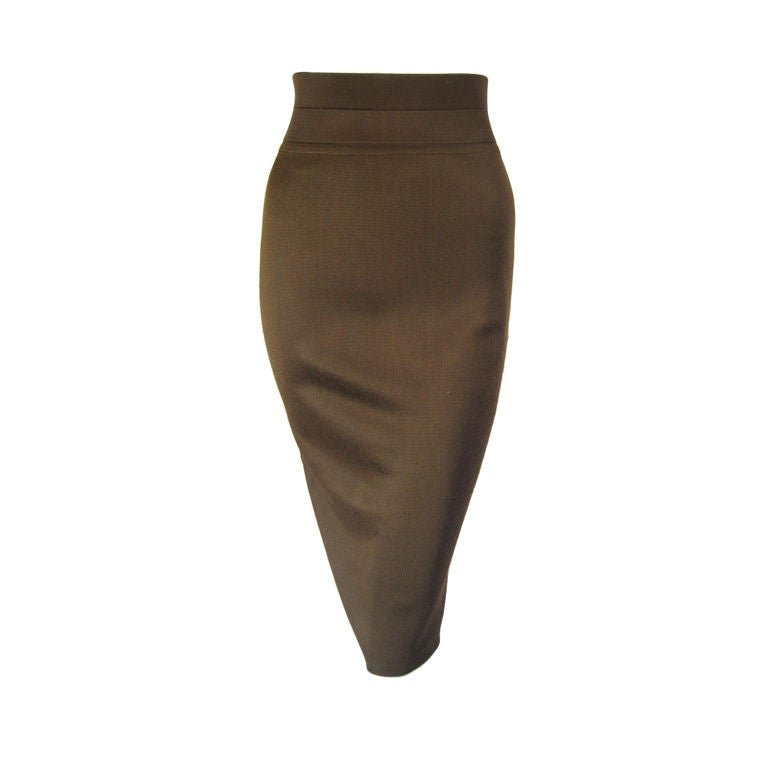 Azzedine Alaia Brown Knit Pencil Skirt 1