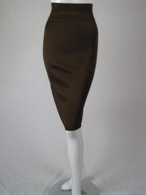 Azzedine Alaia Brown Knit Pencil Skirt 2