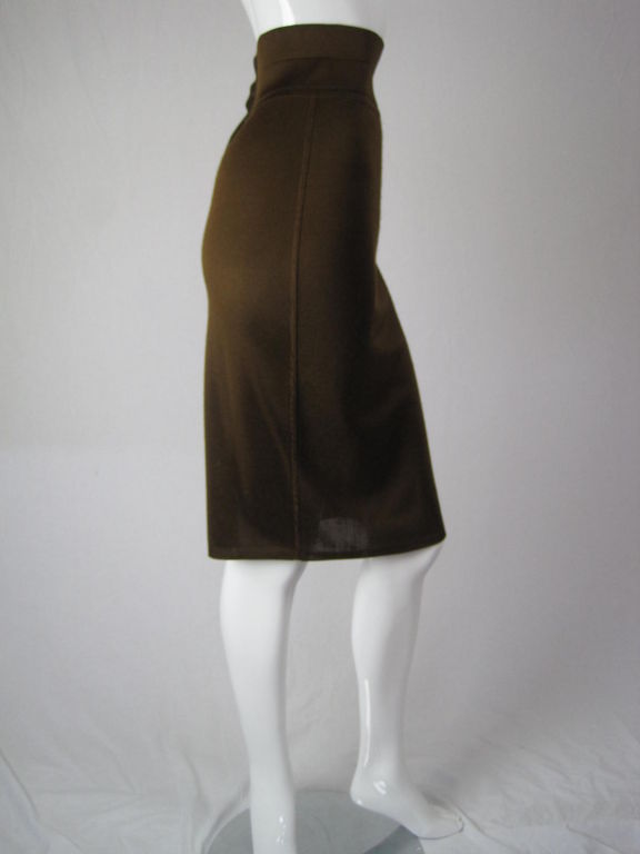 Azzedine Alaia Brown Knit Pencil Skirt 3