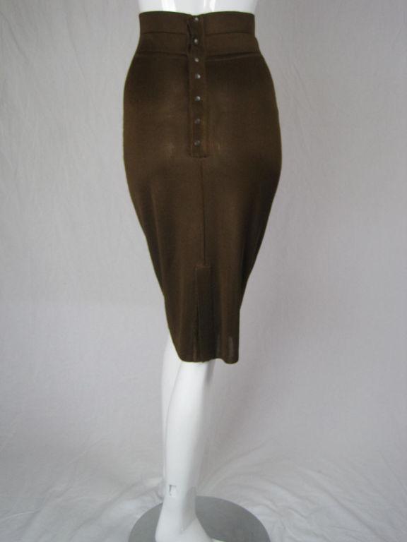 Azzedine Alaia Brown Knit Pencil Skirt 4