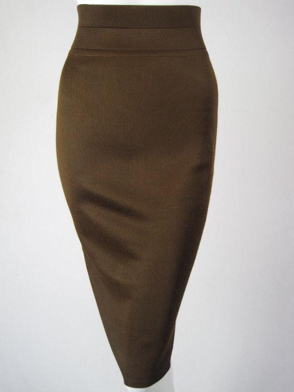 Azzedine Alaia Brown Knit Pencil Skirt 7