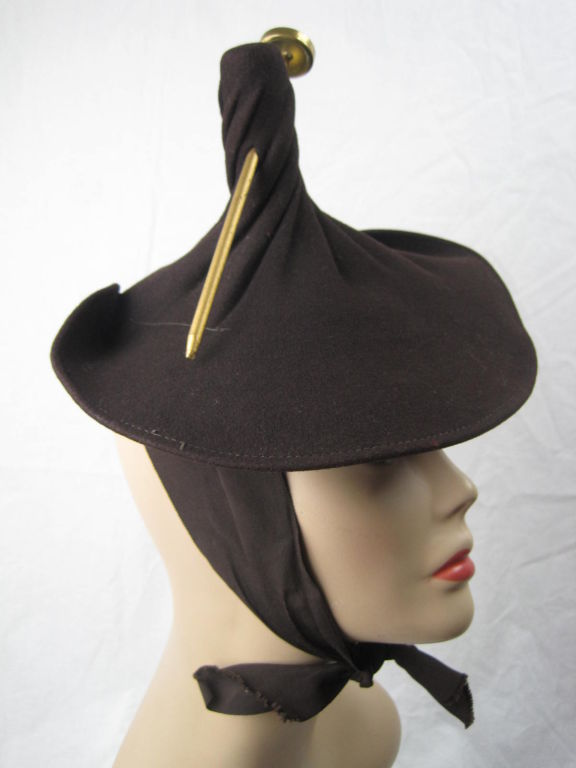 Unusual 1940's Brown Felt Hat 2