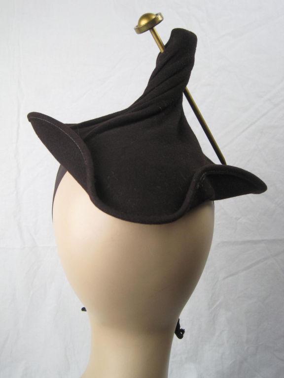 Unusual 1940's Brown Felt Hat 3