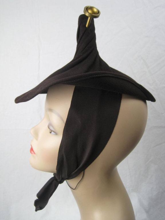 Unusual 1940's Brown Felt Hat 4
