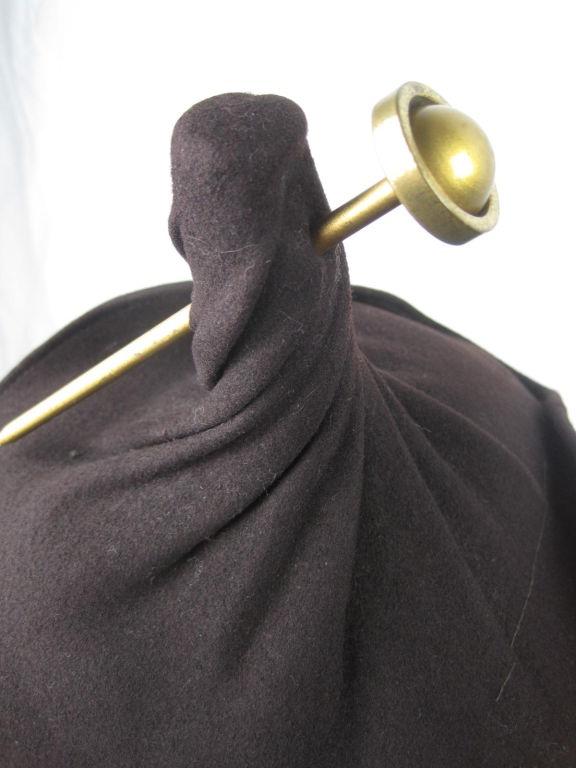 Unusual 1940's Brown Felt Hat 5
