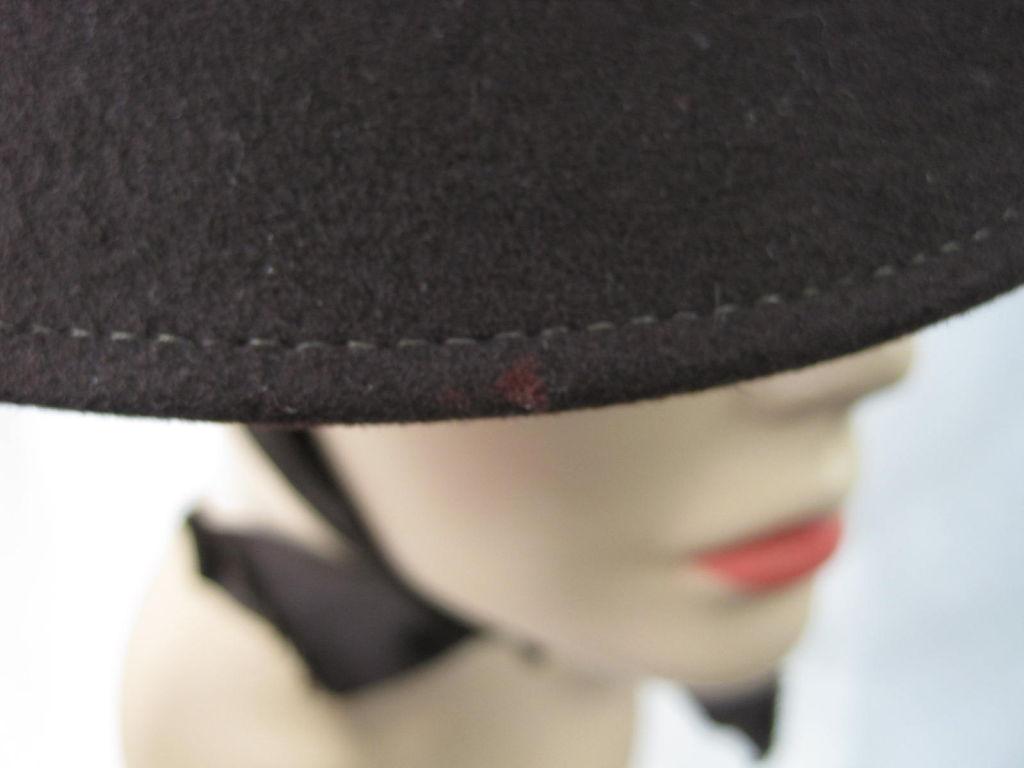 Unusual 1940's Brown Felt Hat 7
