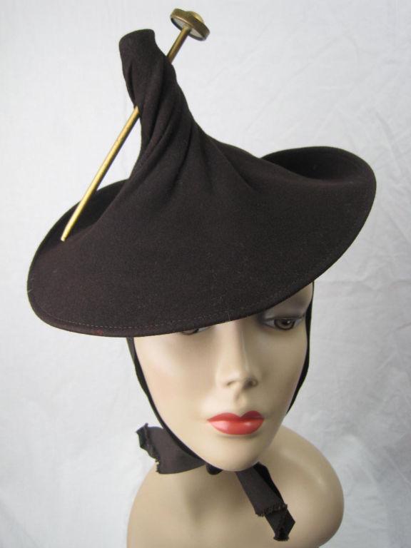 Unusual 1940's Brown Felt Hat 8