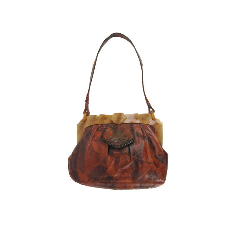 Arts and crafts handbag leather and celluloid handbag for for Arts and crafts tote bags