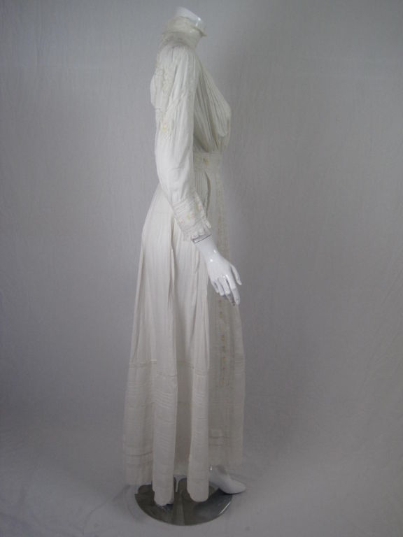 Edwardian Lawn Dress with Pintucks and Lace Insets 2