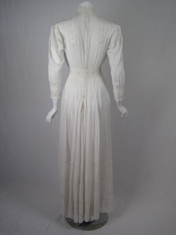 Edwardian Lawn Dress with Pintucks and Lace Insets 3