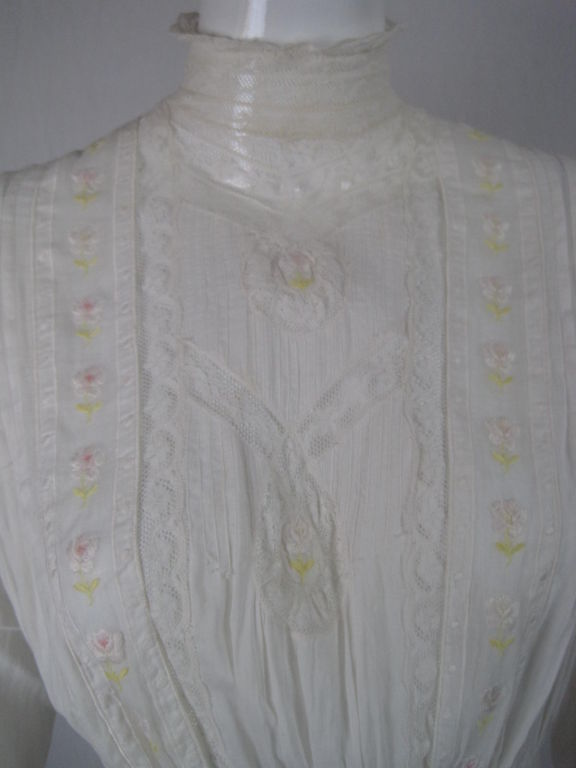 Edwardian Lawn Dress with Pintucks and Lace Insets 4