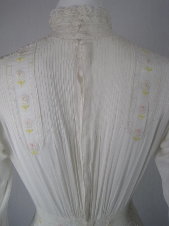 Edwardian Lawn Dress with Pintucks and Lace Insets 5