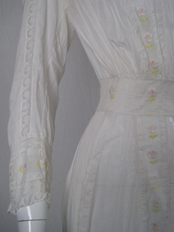 Edwardian Lawn Dress with Pintucks and Lace Insets 6