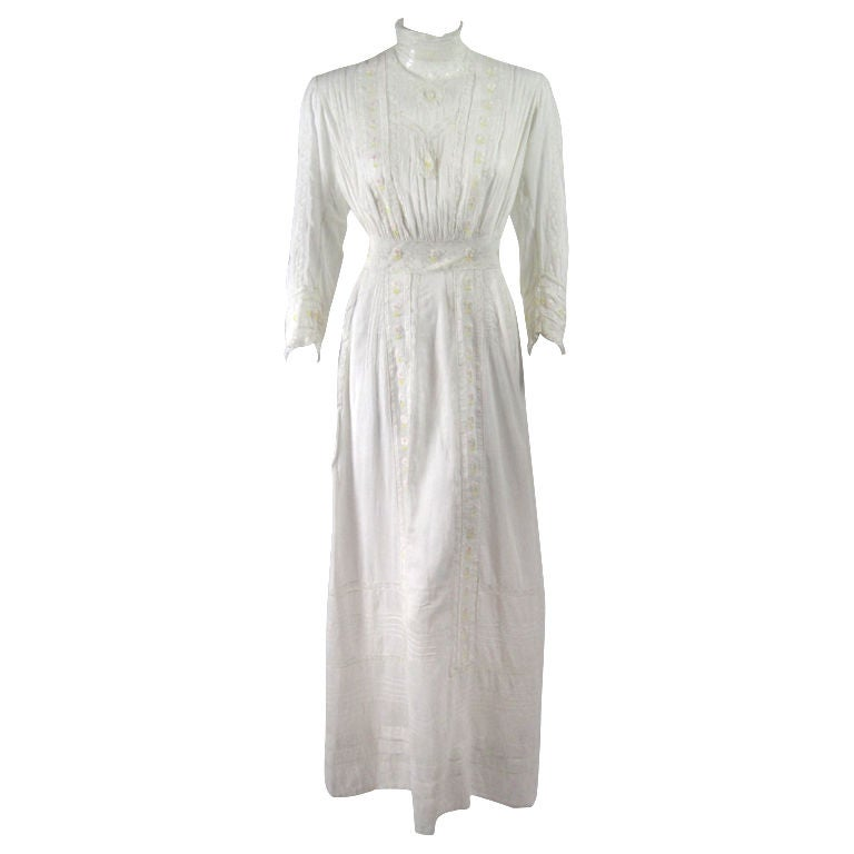 Edwardian Lawn Dress with Pintucks and Lace Insets 1