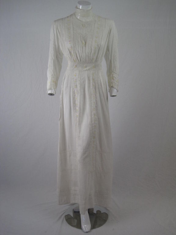 Edwardian Lawn Dress with Pintucks and Lace Insets 9