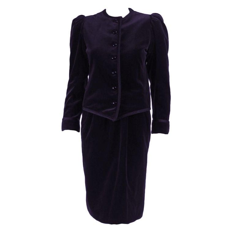 Yves Saint Laurent Velvet Suit with Soutache Trim
