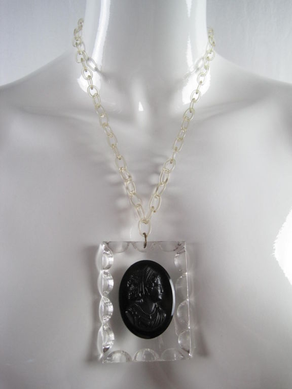 1940's Lucite Cameo Necklace For Sale 3