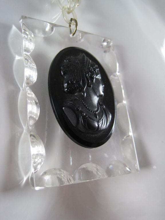 1940's Lucite Cameo Necklace 2