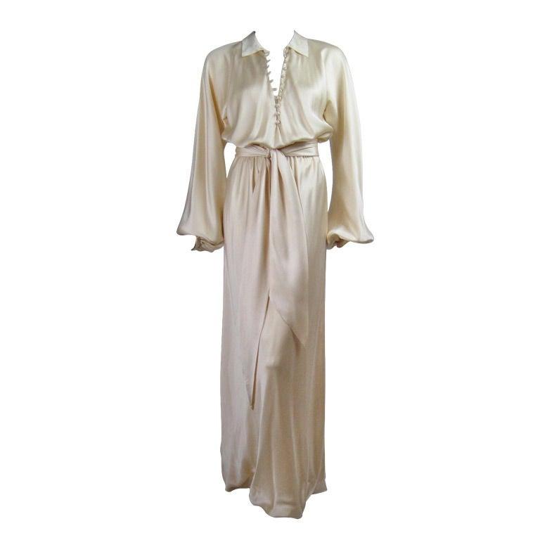 Halston Silk Charmeuse Bias Cut Gown 1